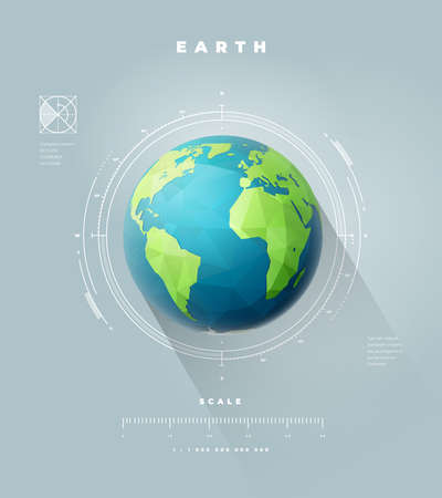 Polygonal Earth hemisphere infographics with scale