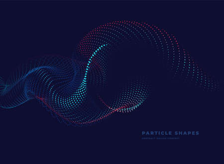 Particle wave. Abstract dynamic wave background. Vector illustration