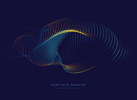 Particle bulky wave background. Abstract dynamic turbine wave. Vector illustration Ilustracja