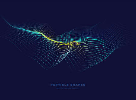 Particle wave. Abstract dynamic topographic wave background. Vector illustration Ilustracja