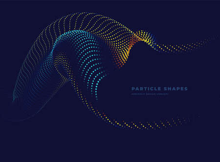 Particle wave. Abstract dynamic tube wave background. Vector illustration