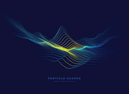 Particle wave. Abstract dynamic topographic mountain wave background. Vector illustration Ilustracja