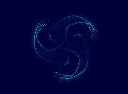 Spiral particle wave abstract dynamic background. Vector illustration 일러스트