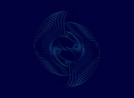 Centric particle wave abstract dynamic background. Vector illustration