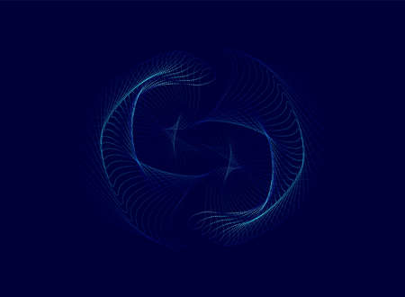 Spiral particle wave abstract dynamic background. Vector illustration Иллюстрация