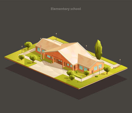 Elementary school building. Isometric realistic vector illustration 일러스트
