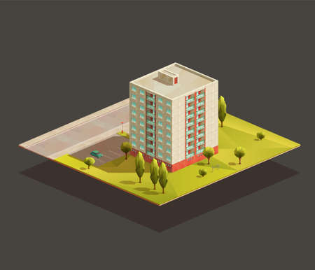 Post soviet tower Block of flats isometric realistic illustration. Polygonal vector building 일러스트