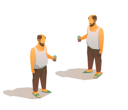 Drunk bald poor man in tank top with a beer can. Isometric 3d vector low poly illustration