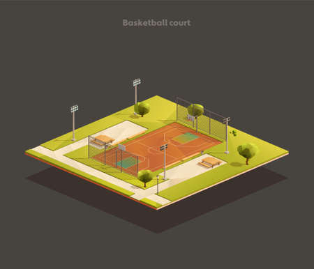 Isometric Outdoor public, school basketball court. Sports arena with lights and benches