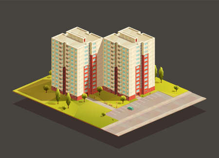Soviet Tower twins Block of flats isometric realistic illustration. With road and parking lot