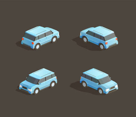 Isometric cute blue MPV. Vector car illustration. Set from different sides