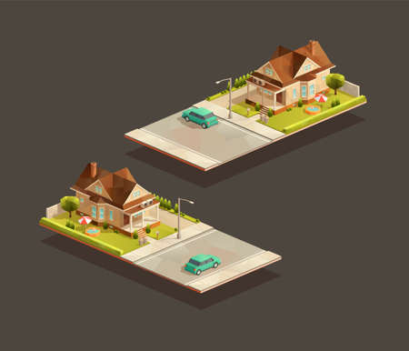 Isometric poor family house with sedan car on street. Low poly suburban vector illustration