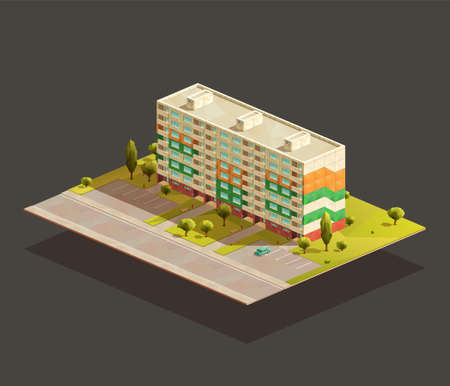 Soviet Block of flats isometric realistic illustration. With road and parking lot