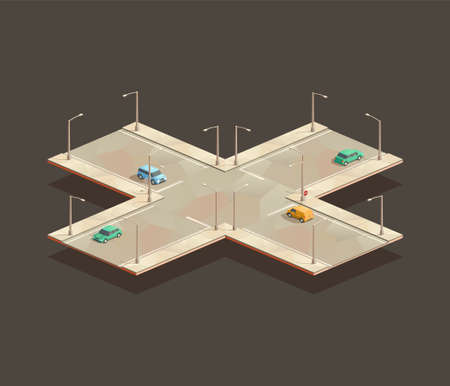 isometric Four-way intersection. Low poly vector illustration