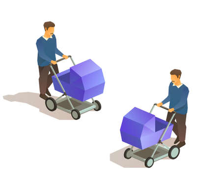 Walking young father with baby carriage. 일러스트