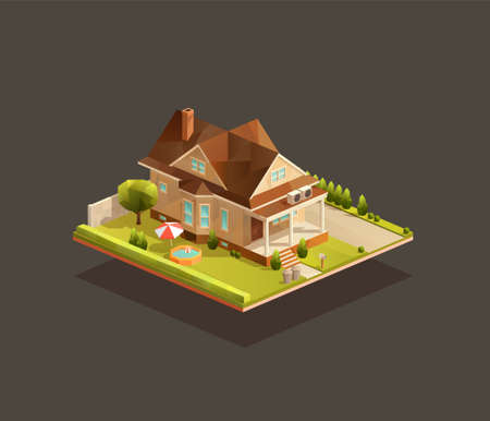 Isometric poor family house with porch. Low poly suburban vector illustration Иллюстрация