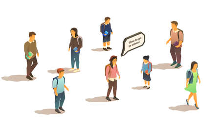 Set of isometric isolated vector illustrations of students and pupils. Comic speech bubble