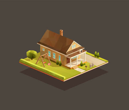 Isometric poor family house with wooden porch. Low poly suburban vector illustration