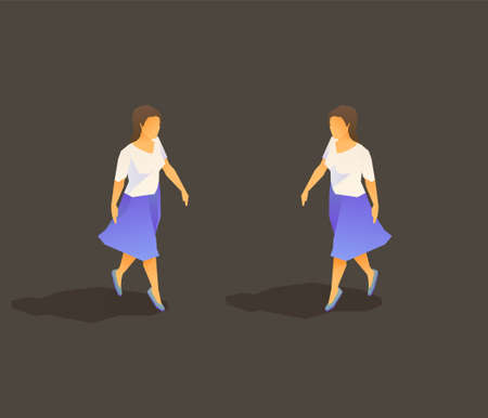 Young walking lady with skirt isometric 일러스트