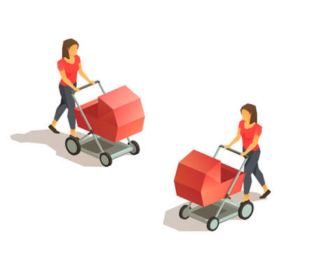 Walking young mother with baby carriage. Vector isometric low poly illustration