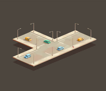 isometric Three-way intersection. Low poly vector illustration 일러스트