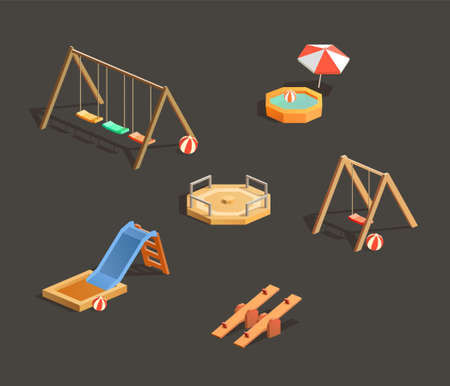 Set of isometric children playgrounds. Vector illustrations of seesaw, swing, pool and sandbox 일러스트