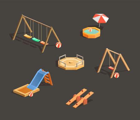 Set of isometric children playgrounds. Vector illustrations of seesaw, swing, pool and sandbox Иллюстрация