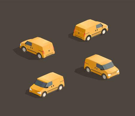 Isometric cute yellow minivan. Vector car illustration. Set from different sides 일러스트