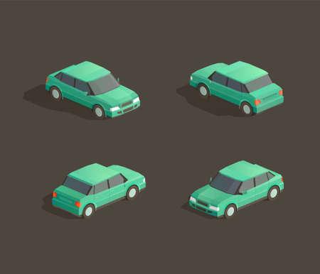 Isometric cute green sedan. Vector car illustration. Set from different sides 일러스트