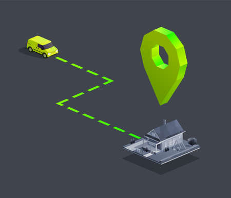 Car delivery navigation with map pin to home. Isometric vector illustration Иллюстрация