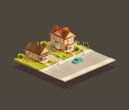 Set of isometric suburbian family houses on street with the car. Low poly vector illustration
