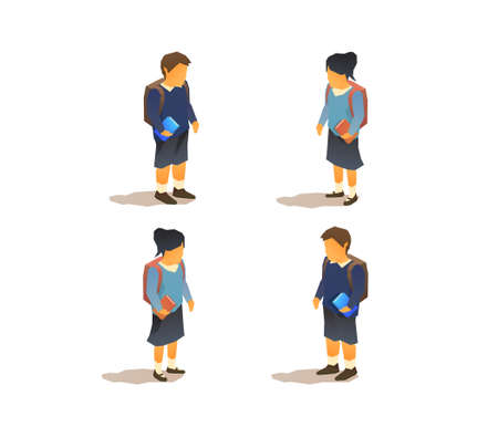 Young pupils in school uniforms. Isometric isolated vector illustration Иллюстрация