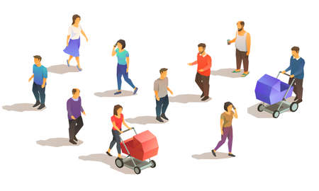 Set of isometric suburbian people. 3D low poly vector illustration