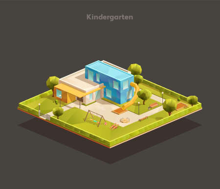 Modern kindergarten outdoor isometric composition with playground.