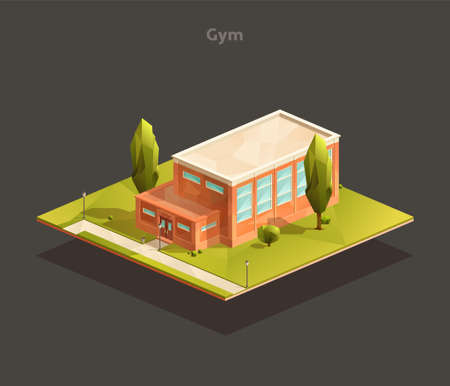 Isometric School gym building. Low poly vector illustration Иллюстрация