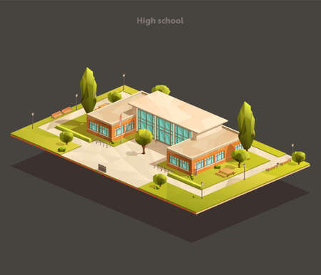Vector isometric illustration of low poly high school or university building