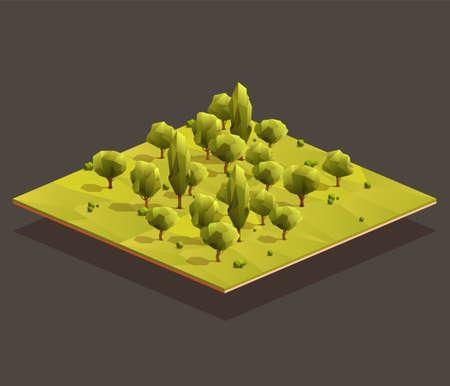 Isometric woods area. Low poly vector illustration Иллюстрация