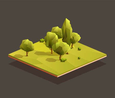 Isometric woods area. Low poly vector illustration of a grove