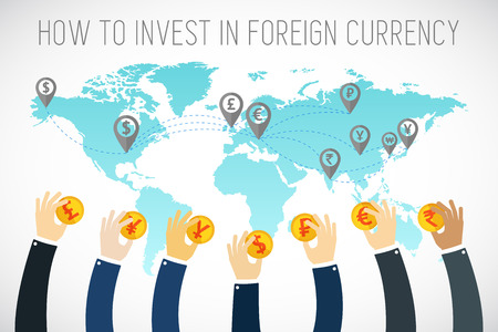 International business. Foreign currency investment. Businessman hands holding gold coins. Traders hands. Successful Trader. Stock market. Foreign currency exchange. flat illustration. Illustration