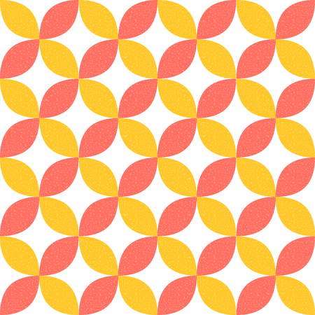 Geometric pattern vector background. Living coral with yellow geometric background.