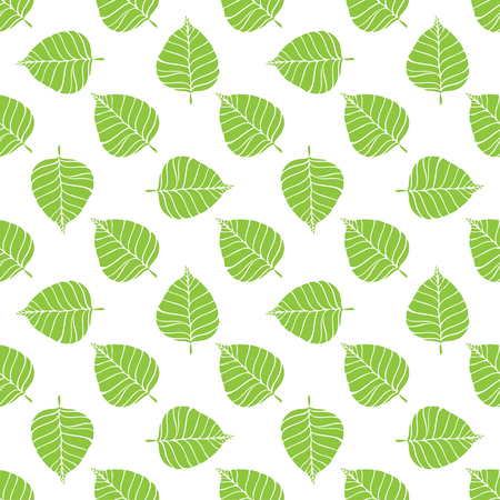 Bodhi Leaves Pattern. Buddhism pattern background. Ficus religious or sacred fig seamless vector pattern. Illustration