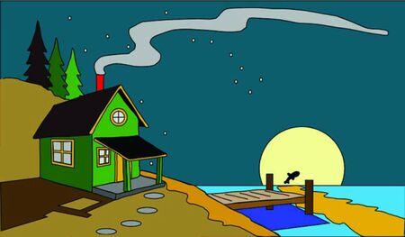 cabine door meer met stary hemel