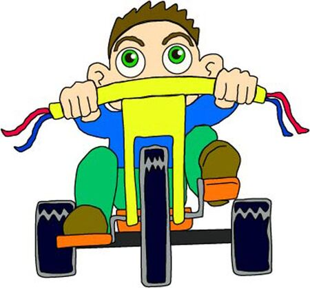 boy riding trycicle