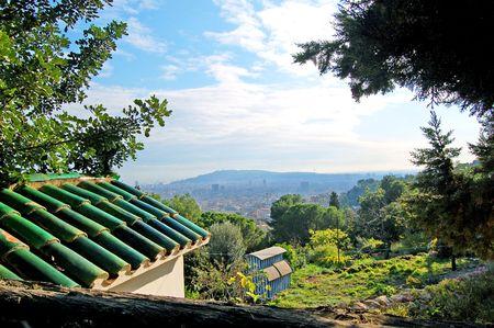 Looking on Barcelona from the neighboring hill Reklamní fotografie