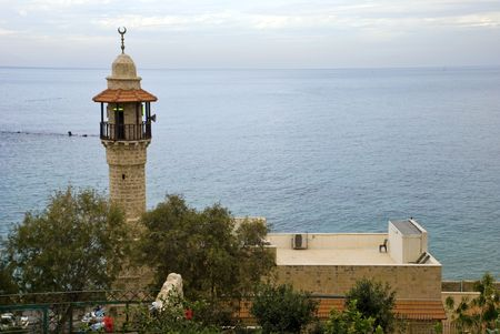 Image of the minaret of a mosque in Jaffa, Israel photo