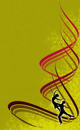 An abstract ochre metallic background with a silhouette of dancing people. Vector illustration