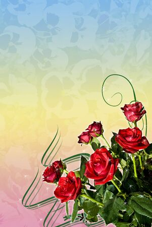 Greeting card with bouquet of red roses on the graded background. photo
