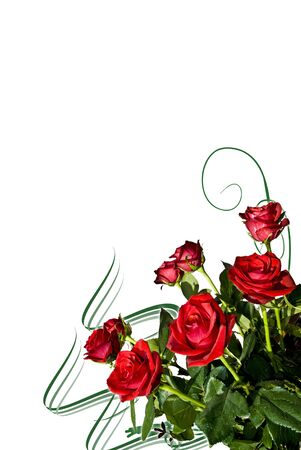 Greeting card with bouquet of red roses on the white background. photo