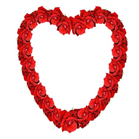 Red roses forming a heart on a white background