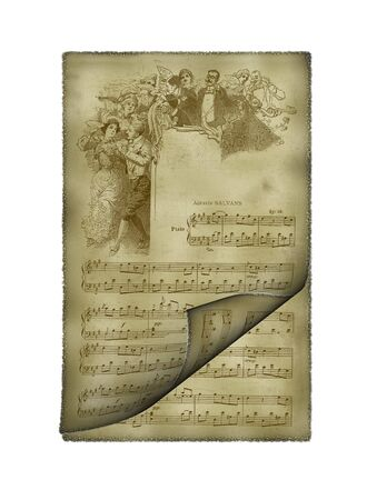transcribe: Illustration of an ancient paper with music notes background Stock Photo